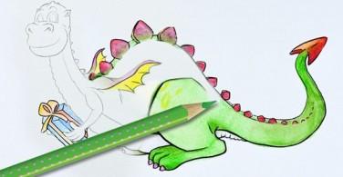 Cara mewarnai naga dengan Watercolour Pencil