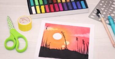 Soft Pastel Art Mix Technique Sunset