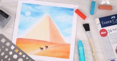 Tutorial Menggambar Piramid dengan Soft Pastel Art