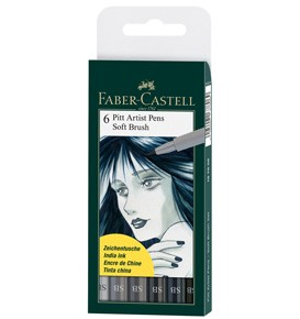 India ink Pitt Artist Pen Soft Brush 6x