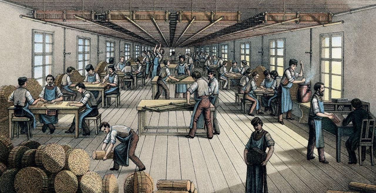 Proses perekatan pensil ke kayu cedar, sekitar tahun 1861