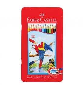 Watercolor pencils in tin case 12L