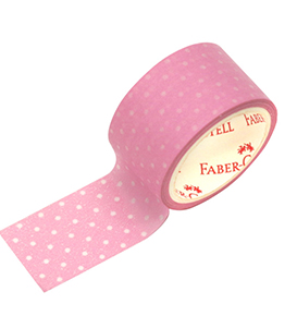 Decorative Paper Tape Polkadot  white pink