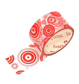 Decorative Paper Tape Red Circle in white