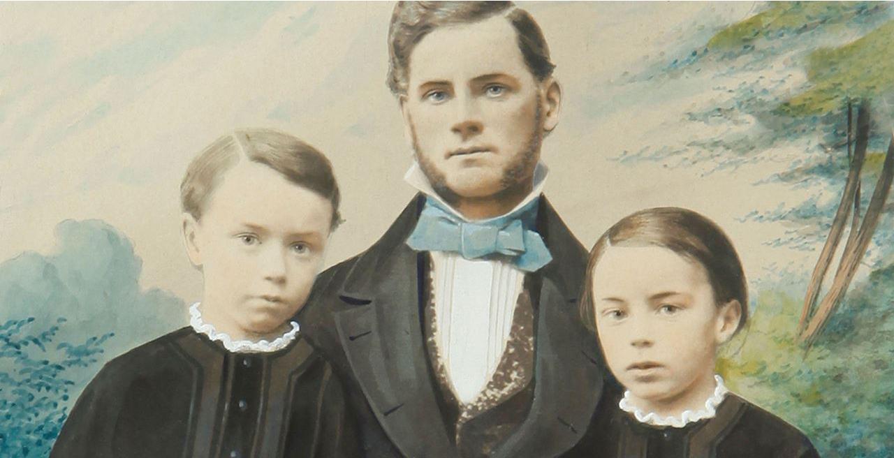 Johann Faber (1819-1901) bersama putra-putranya Carl dan Ernst