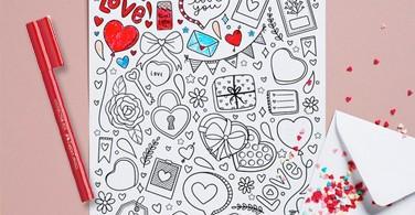 Template Mewarnai Gambar Tema Valentine