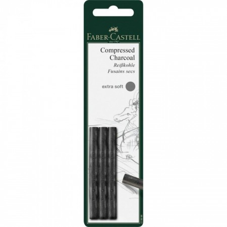 Charcoal stick compressed Pitt extrasoft set of 3